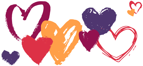 Hand-drawn hearts in various colours.